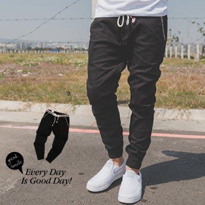 柒零年代【N9824J】斜紋口袋徽章配色羅紋抽繩縮口褲(UC3050)