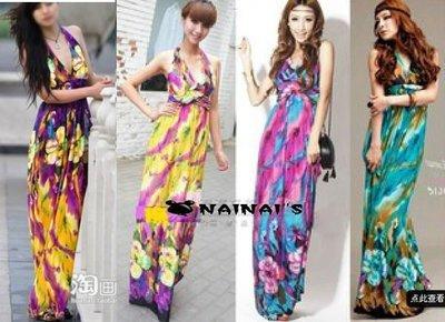 【NAINAIS】Style‧7632 韓版 波希米亞夏威夷 綁帶V胸收腰鬱金香鮮艷撞色長版洋裝 3色預