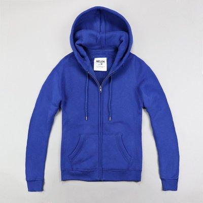 【MELEK Clothes】【MELEK】MELEK女款棉質連帽外套全素款寶藍 I01140124-05