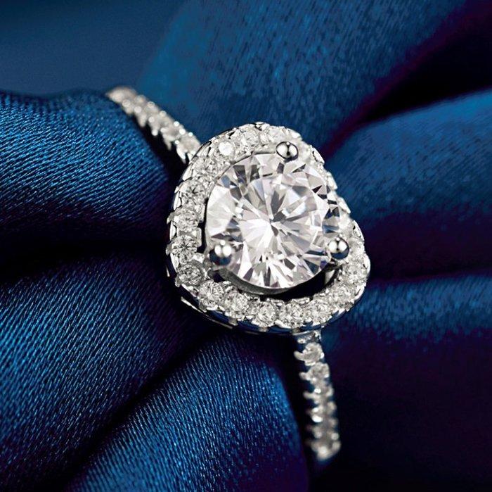 Natela 心中唯一愛 925銀 心形鋯石閃耀 自由調節尺寸定情之物 節日送禮鍍白金 飾品女生配件 手飾 結婚防過敏