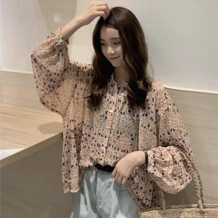 *Angel  Dance*雪紡長袖上衣(碎花)@韓國 chic 慵懶風 襯衫 單排多扣 蝙蝠袖 寬鬆 顯瘦@現貨+預購
