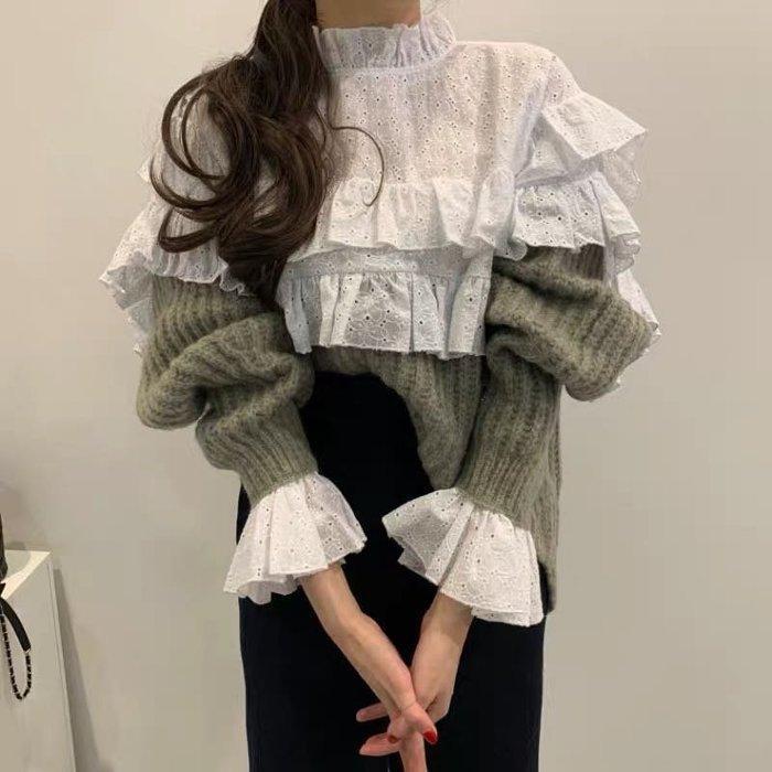 【2A Two】韓國〰️🎶荷葉蕾絲拼接針織毛衣 花朵袖襯衫『BB00491』