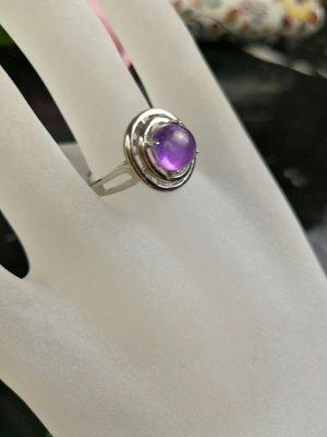 紫水晶925銀女戒 工廠自營 保証天然晶透