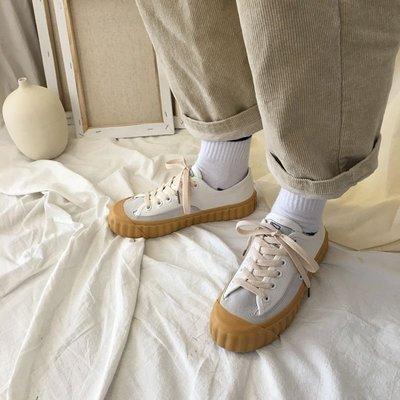 SeyeS  萬年百搭潮流自然風波浪派皮帆布鞋