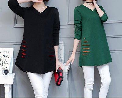 GOGO SHOP☆╭韓版新款 破洞設計 V領顯瘦長版T恤【Y1424】XL~5XL中長款長袖上衣 背心 大尺碼