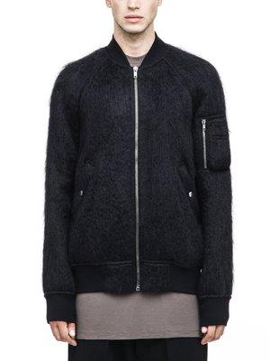 [ 羅崴森林 ] 現貨RICK OWENS MASTODON RAGLAN BOMBER拉格倫黑色刷馬海毛飛行夾克