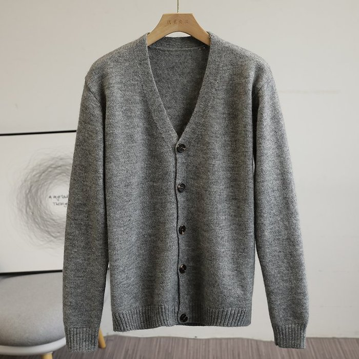 ☆MR.STORE.A☆日單復古簡約羊毛混紡柔軟舒適針織衫毛衣外套(灰色)~現貨+預購