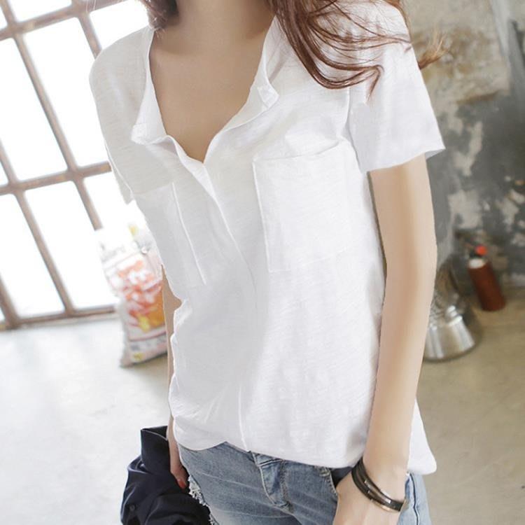 竹節棉上衣 夏季竹節棉純色短袖上衣女V領時尚寬鬆白色百搭純棉半袖體恤--【多色小屋】
