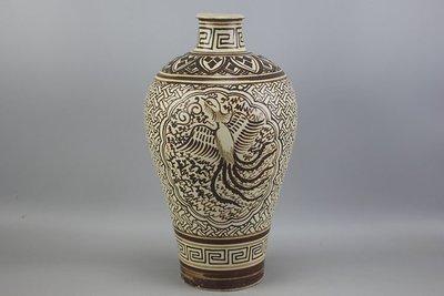 ㊣姥姥的寶藏㊣北宋吉州窑白地皮褐彩凤纹梅瓶 古玩 古董