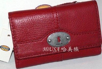 哈美族 全新 FOSSIL 經典鑰匙系列 紅色真皮 多用途三折 中夾/鈔票夾/零錢包 附原廠禮盒