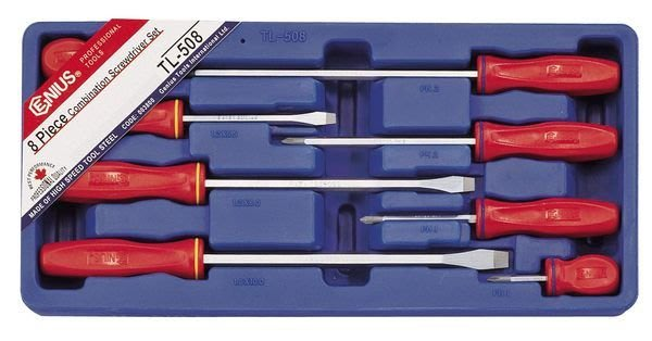 ☆ToolBox☆加拿大-Genius- 一字、十字螺絲起子8件組(TL-508)~單支可拆賣