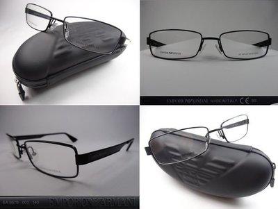 【信義計劃眼鏡】全新真品 EMPORIO ARMANI 亞曼尼 義大利製 EA GA 消光黑 削光黑 霧黑色 金屬框方框