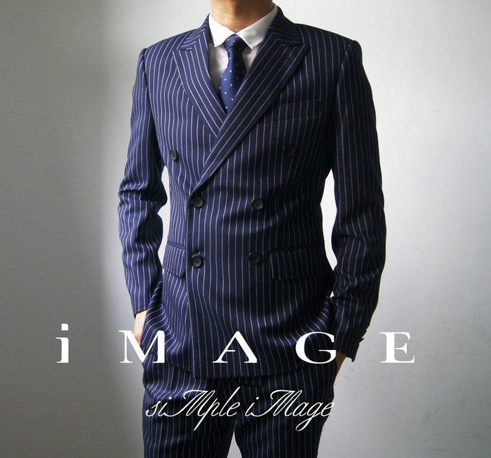SIMPLE IMAGE頂級商務紳士訂製系列Italian Fashion 藍底寬線條雙排扣西裝(手工訂製)
