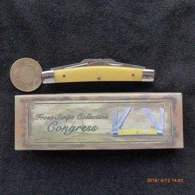 (金)Frost Script Collection Congress黃色柄四開口袋折刀,含原廠紙盒,瑞士刀可參考