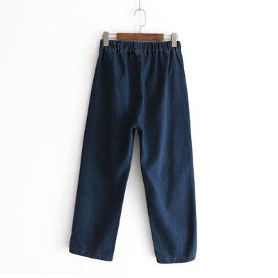 牛仔 褲 直筒 長褲-街頭休閒鬆緊腰寬鬆女褲子2色73tq39[獨家進口][米蘭精品]