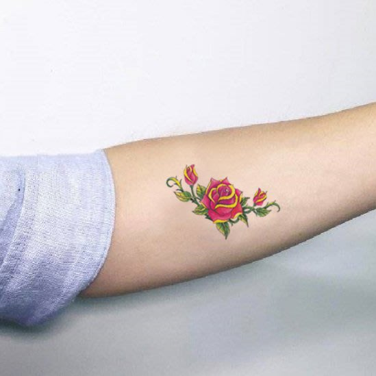 【萌古屋】帶葉玫瑰單圖348 - 男女防水韓風簡約紋身貼紙刺青貼紙K13