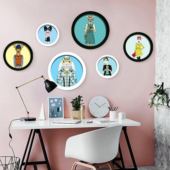 七彩葉歐式圓形簡約照片墻 創意相框掛墻組合 客廳懸掛卡通相片墻  衣品居 YPJ