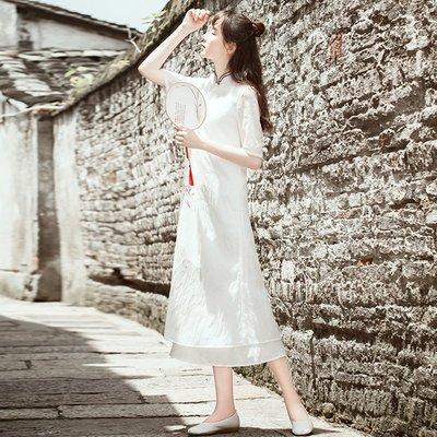 茶服女茶人服古箏演出服中國風民國風女裝成人棉麻洋裝中式復古【  全館免運】