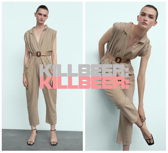 KillBeer:漂丿的都市名媛之 歐美復古簡約設計感自然風立體剪裁編織腰封翻領棉麻無袖連身褲長褲A080209