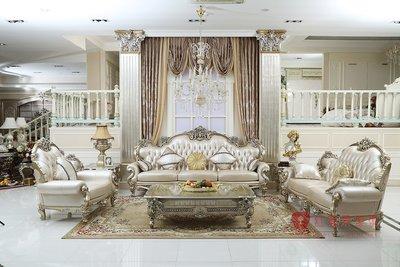 [紅蘋果傢俱] A28B 洛克思瑞系列 沙發組 法式沙發 新古典 布/皮沙發 實木雕刻 別墅沙發 實體賣場