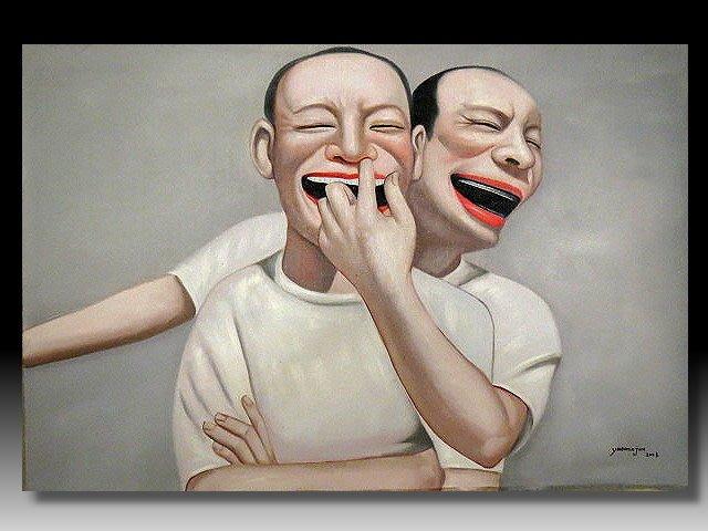 【 金王記拍寶網 】U1235  九O年代當代亞洲藝術家 岳敏君款 手繪油畫一張 ~ 罕見系列作品 稀少 藝術無價~