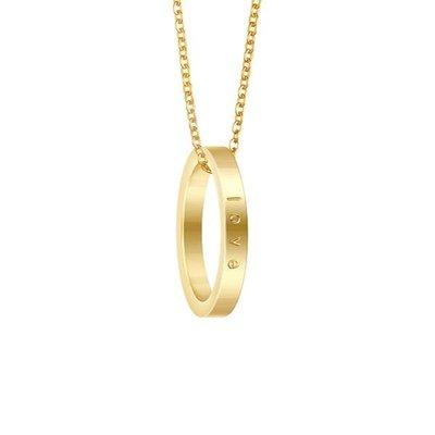 MANTRABAND 美國悄悄話戒指 Love 金色戒指 愛就對了 附項鍊