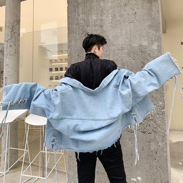 FINDSENSE 2019 秋季上新 G19  簡約寬鬆蝙蝠袖袖口穿繩毛邊寬鬆牛仔上衣 男裝 牛仔外套
