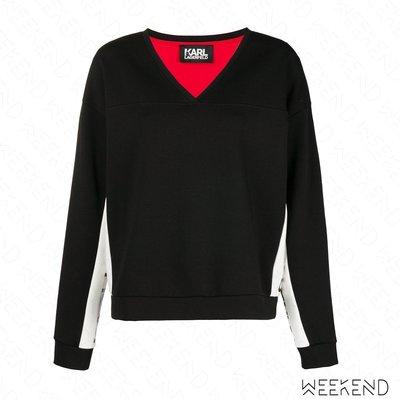 【WEEKEND】 KARL LAGERFELD Logo 切割 卡爾老佛爺 V領 上衣 衛衣 黑色 18秋冬