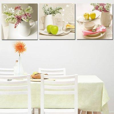 熱賣餐廳無框畫 現代裝飾畫 三聯廚房壁畫 清新水果酒杯掛畫墻畫