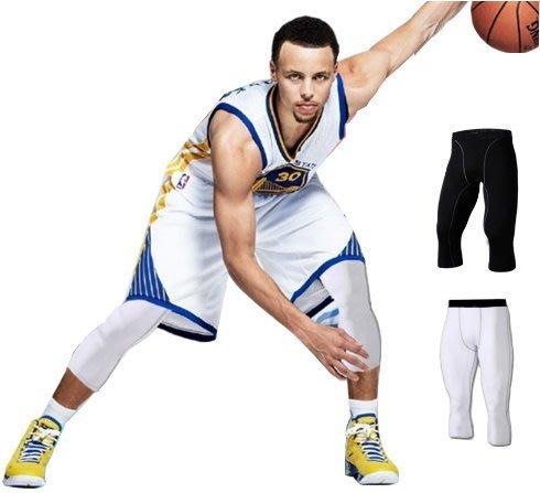 7分緊身束褲 黑/白 Curry同款 緊身褲 球褲 緊身長褲 球褲 長褲 運動褲【A17】