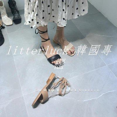 litterluck-韓國專櫃JOKER 實拍涼鞋女新款ins潮平底粗跟一字帶羅馬百搭涼鞋女仙女風