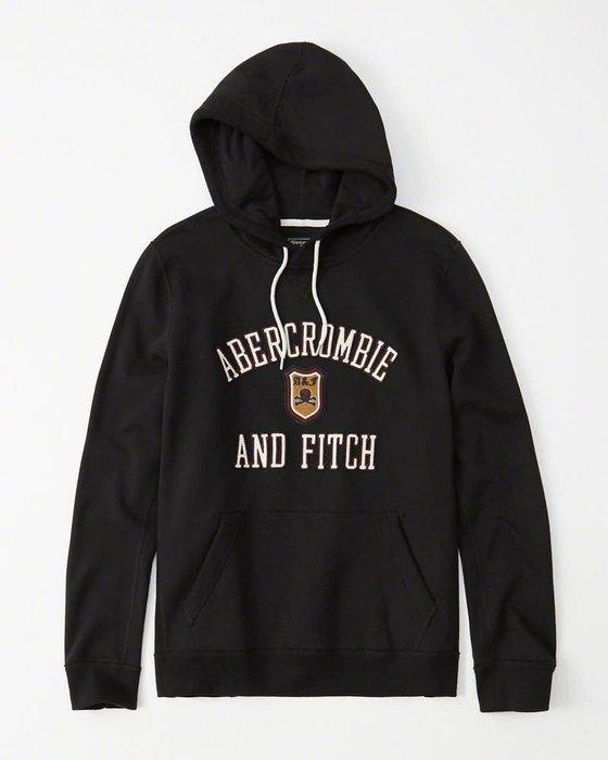Maple麋鹿小舖 Abercrombie&Fitch * AF 黑色貼布字母骷顱連帽長T * ( 現貨S/M號 )