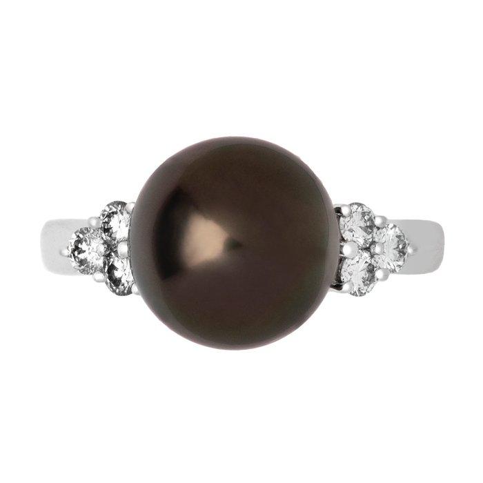 【JHT 金宏總珠寶/GIA鑽石專賣】MIKIMOTO天然黑珍珠鑽戒/材質:PT950(JB37-A07)