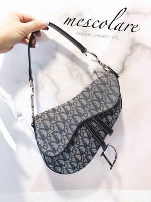 售罊mescolare二手精品正品Christian Dior 經典提花老花銀釦馬鞍包防塵袋包卡不議價