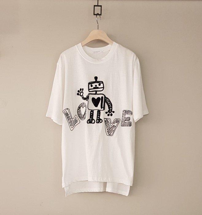 C-ting 簡約韓國 任三件免運棉質寬鬆英文字母機器人短袖T-shirt圓領/100%韓國空運