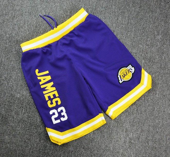 NBA籃球青年短褲 洛杉磯湖人隊  LEBRON JAMES 口袋版 運動籃球褲 紫色 正版