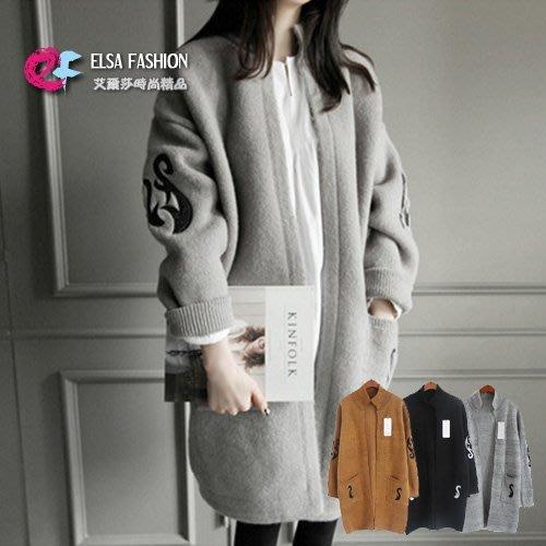 長袖毛衣外套 開襟立領圖騰刺繡寬鬆針織外套 艾爾莎【TGK2747】