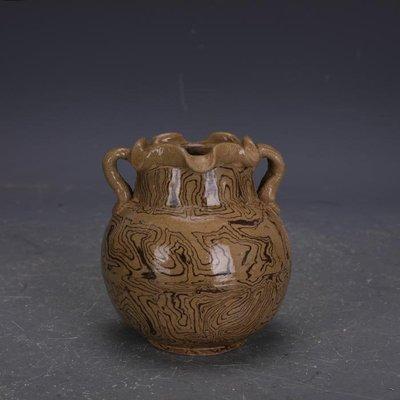 【三顧茅廬 】唐代灰地全手工絞胎瓷雙系罐子 文物出土古瓷器古玩收藏擺件