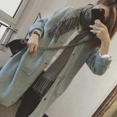 ☆Bubble Lady ☆【C1015】超美 淡淡湖水綠 含兔絨 長版 罩衫 外套 韓妮