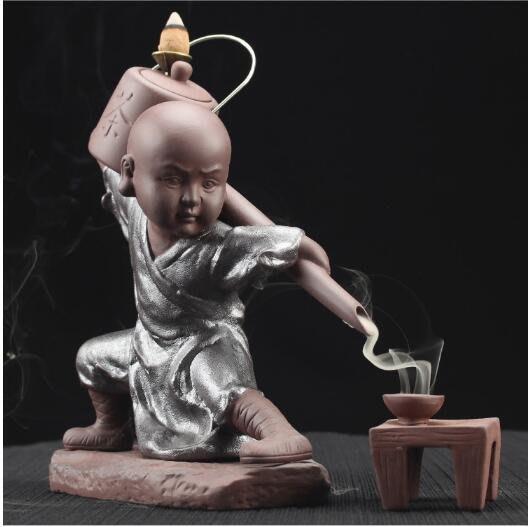 【古韻之家】功夫和尚倒茶倒流煙香爐/ 陶瓷香薰爐/ 塔香檀香沈香爐