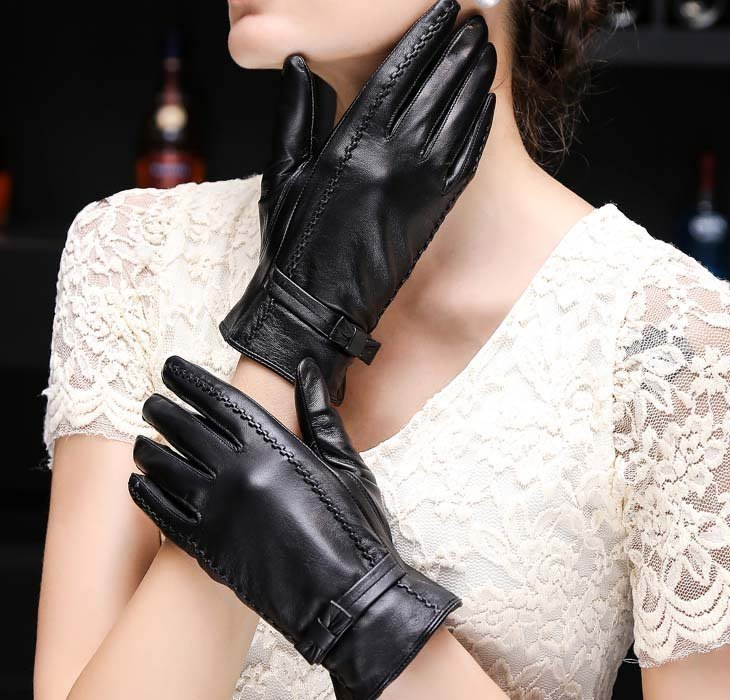冬季真皮手套 羊皮短款加絨加厚騎車戶外觸屏皮手套 薄款