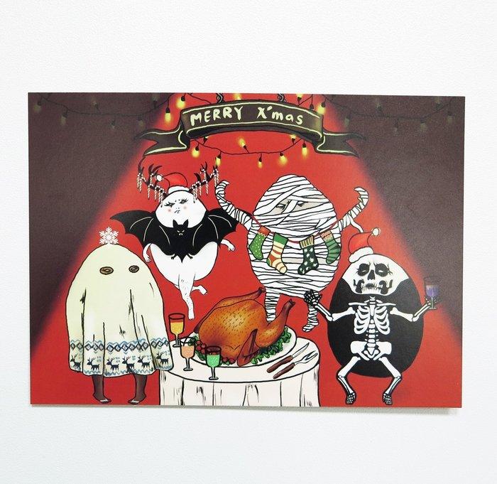 [明信片] 聖誕卡 蛋定人生-聖誕鬼趴踢