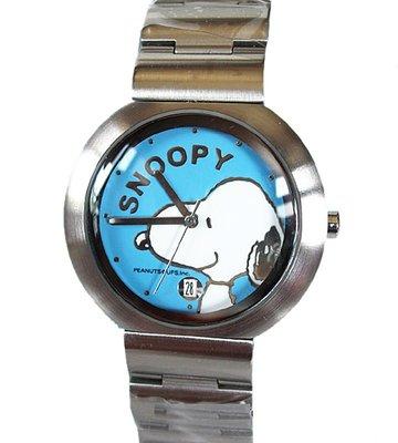【卡漫迷】 Snoopy 手錶 日期功能 藍 ㊣版 女錶 男錶 日曆 不銹鋼 強化水晶玻璃 史努比 史奴比 七折出清
