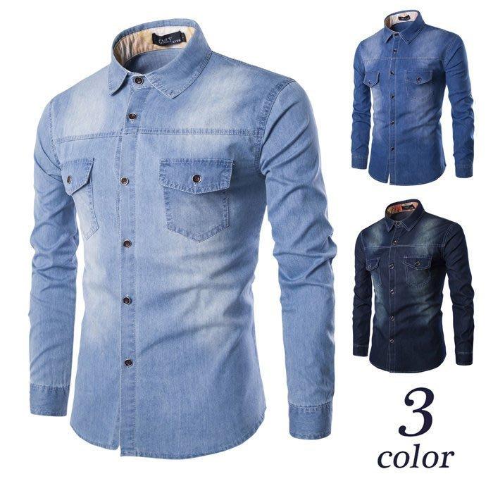 『潮范』 WS11 歐版加大碼襯衫 高品質全棉男士休閒水洗牛仔襯衫 長袖襯衫 夯襯衫NRB3063