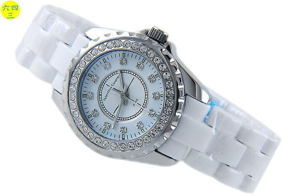 (六四三精品)3.7范倫鐵諾J12款式手錶.切割鏡面.蝴蝶錶扣.外框水鑽.白!