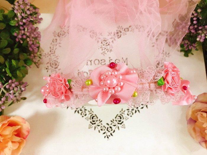 【華蕊】* A款珍珠小花髮箍頭紗 * 髮圈 小花童 公主頭紗 甜美 可愛 蕾絲 花環