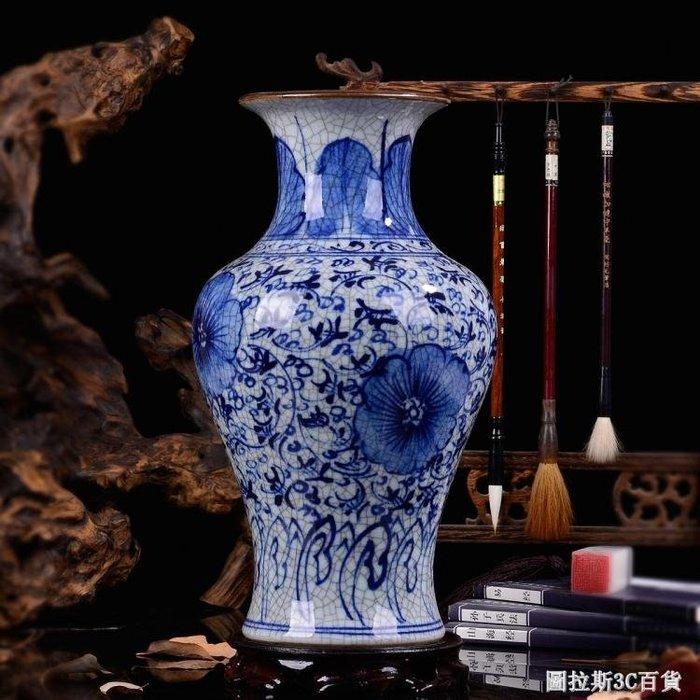仿古手繪青花瓷器 景德鎮陶瓷花瓶 家居裝飾品現代客廳工藝品擺件  圖斯拉3C百貨