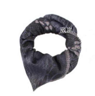 01  透氣 迷彩 圍巾 蟒黑 自行車 腳踏車 重機 旅遊 登山 口罩 頭巾 領巾 方巾 三角巾 生存遊戲 防塵 防曬