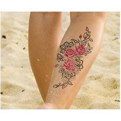【萌古屋】粉色圖騰花朵 - 男女防水紋身貼紙刺青貼紙AQ-014 K19
