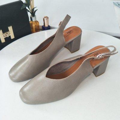 粗跟高跟鞋正韓版女鞋夏季新款韓版舒適粗跟高跟時尚方頭奶奶鞋女士單鞋一字扣涼鞋8-22